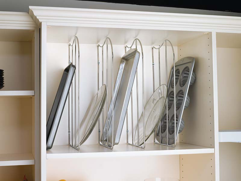 baking tray dividers and cookie sheet divider for kitchen cabinet organization