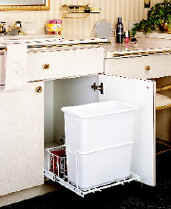 shallow cabinet trash system perfect for bathroom and under sink