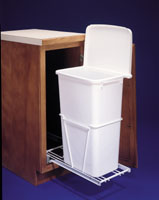 tall pull out trash system with lid or cover sliding garbage can